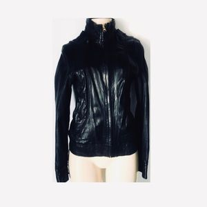 Mike & Chris Blk Leather Bomber Jacket. RARE